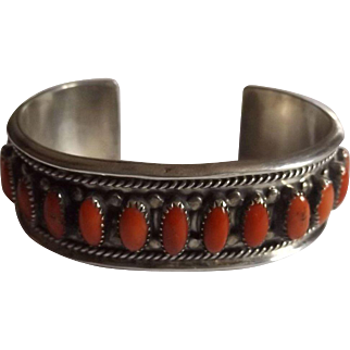 Navajo 925 Sterling Silver and Coral Cuff Bracelet Signed Fay Johnson
