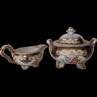 Circa 1820's H & R Daniel Antique English Cream and Sugar Sucrier Pattern #4058