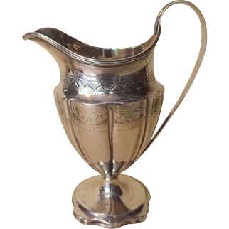 Beautiful Georgian Antique English Sterling Silver Pitcher or Creamer c.1793