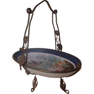Antique Paris Porcelain Dish with Blue Bird and Brass Fittings