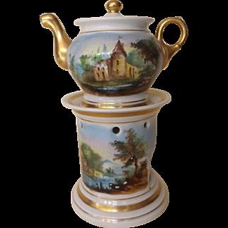 Antique Old Paris French Porcelain Tisaniere Veilleuse Teapot Warmer