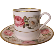 Vintage Royal Worcester Demitasse Cup and Saucer Royal Garden Pattern with Cabbage Roses