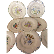 Set of 8 George Jones Crescent English Plates with Hand Painted Floral Decoration