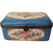 Antique 19th Century French Porcelain Dresser Box with Hand Painted Flowers - Red Tag Sale Item