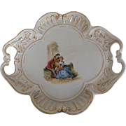 Lovely Unmarked Porcelain Tray Plate with Hand Painted Romantic Scene