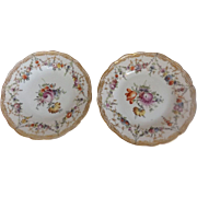 Pair of Pretty Marked Meissen Plates with Hand Painted Flowers