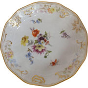 "Marked Meissen 5.5"" Wide Bowl with Hand Painted Flowers and Gold Gilt Accent"