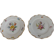 "Pair of Marked Meissen 6"" Hand Painted Plates"