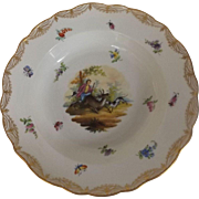 """A Marked Meissen 9"""" Bowl with Hand Painted Scene Including Insects"""