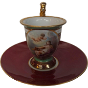 "Antique 18th Century Cabinet Cup and Saucer with Putti Angel and Early ""R"" Saxe Mark"
