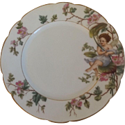 Antique Haviland Limoges Cabinet Plate with Hand Painted Fairy Angel