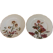 Pair of 19th Century Antique Haviland Limoges Plates with Victorian Faces and Flowers