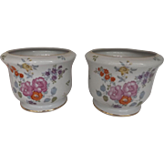 Pair of Porcelain Cachepots with Floral Decoration