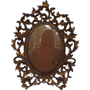Great Antique Gilded Picture Frame with Easel