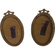Pair of Antique Miniature Picture Frames with French Flourish