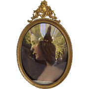 Marvelous Antique Picture Frame with Convex Glass, French Flourish Cartouche, and Easel