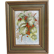 Hand Painted Framed Tile....Beautiful Berries
