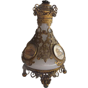 Antique French Opaline Scent Bottle with Ormolu and 4 Monument Scenes...19th C. Grand Tour