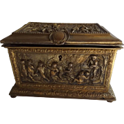 Antique Gilded Bronze Box with Relief Accent