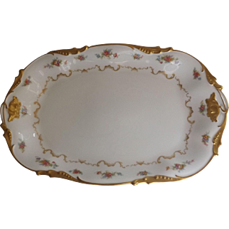 Lovely Antique Jean Pouyat Limoges Shallow Platter with Pink Flowers and Gilt Trim