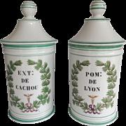 Pair of Antique Paris Porcelain Apothecary Jars with Green Trim