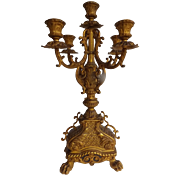 Antique Gilded Bronze Candelabra with Lion's Paw Feet