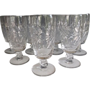 "Set of Eight 6.5"" high c.1935 Libbey Rock Sharpe Cut Crystal Stems, Wreath Pattern"