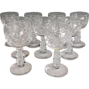 "Group of Nine c.1935 Libbey Rock Sharpe 3.5"" High Cordials"