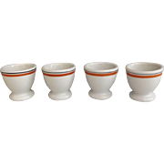 Sweet Set of 4 French Porcelain Egg Cups