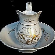 19th C. Paris Porcelain Pitcher & Basin