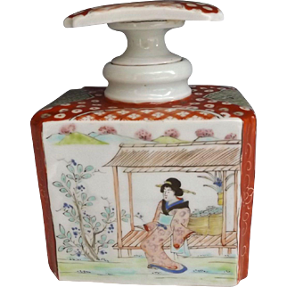 Antique Japanese Export Tea Caddy with Hand Painted Geisha Accent & Signed Stopper