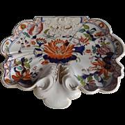 Antique Mason's Ironstone Shell Shaped Dessert Dish, Water Lily Pattern, circa 1820's