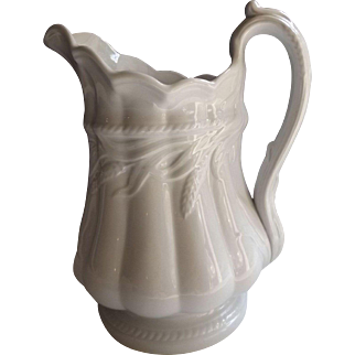 "Antique 19th Century English Ironstone 10"" Pitcher"