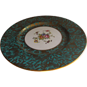 "Minton English 8"" Plate in the Brocade Pattern, Aqua"