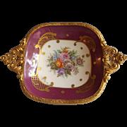 Porcelain Pin Dish with Ornate Ormolu Trim