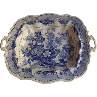 Antique Blue and White English Staffordshire Transferware Open Vegetable