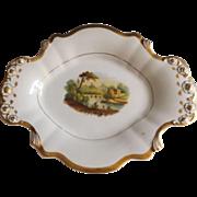 Antique Old Paris Porcelain Serving Platter with Hand Painted Landscape and Gilt Trim