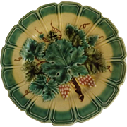 French Sarreguemines Majolica Plate with Hanger