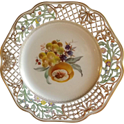 Antique Dresden Plate with Reticulated Edge and Hand Painted Fruit Center