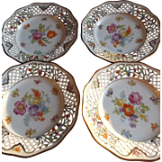"Set of 4 Dresden Schumann Floral Spray 7.5"" Plates with Reticulated Edges"