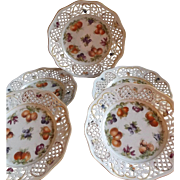 Group of 5 Antique Dresden Plates with Fruit and Reticulated Edges