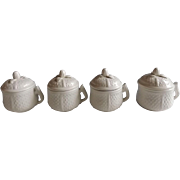 Set of 4 Vintage Lidded Pot de Creme