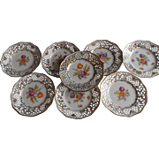 Set of 8 Schumann Dresden Floral Plates Reticulated Edges