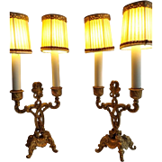 Truly Special Pair of Gold Gilded Candelabra Electrified Lamps with Shades Hollywood Regency