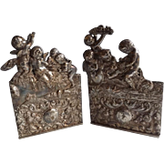 Pair of Marvelous Antique Silver Plate Bookends with Putti and Angels