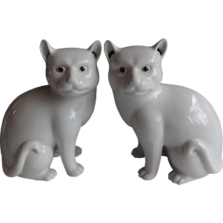 Pair of White Porcelain Made in China Cats