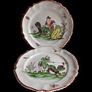 Pair of Antique French Tin Enamel Faience de l'Est Plates 18th Century