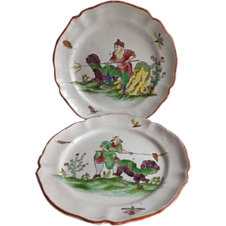 Pair of Antique French Tin Enamel Faience de l'Est Plates 18th Century
