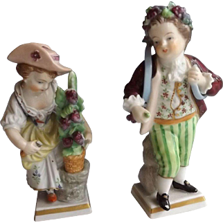 "Charming Pair of Marked Sitzendorf Figurines ""Garden Children"""