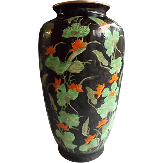 "14"" High Hong Kong Japanese Porcelain Vase with Nasturtium Decoration"